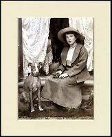 WHIPPET EDWARDIAN LADY AND HER DOG LOVELY PRINT MOUNTED READY TO FRAME