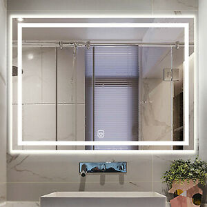 Large Bathroom Wall Mirror with LED Lights,Demister   Touch Sensor   Rectangular