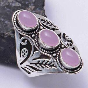 Rose Chalcedony Ethnic Handmade Ring Jewelry US Size-10 AR 39422
