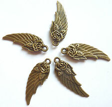 5 x  BRONZE COLOUR ANGEL WING PENDANT WITH A ROSE CHARM 31 x 10mm