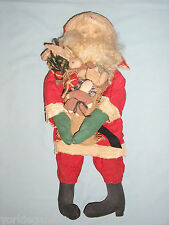 Primitive Look Pre - Owned Santa Claus With Toys Soft Sculpture Christmas Doll