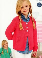 222 KNITTING PATTERN ONLY DK GIRLS LONG/SHORT SLEEVE CARDIGAN 56-76cm VINTAGE