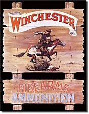 WESTERN RUSTIC RANCH HOME DECOR VINTAGE LOOK METAL SIGN WINCHESTER FIRE ARMS