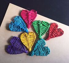 5 x Colour Vine Hearts - Wicker DIY Pet Rabbit Guinea Pig Parrot Bird Toy Parts