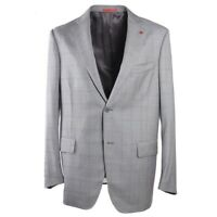 NWT $3395 ISAIA Modern-Fit Light Gray Check Super 140s Wool Sport Coat 44 R