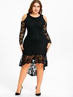 Plus Size XL-5XL Lady New Women Dress Cold Shoulder Lace High Low Evening Party