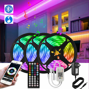 65FT 50FT 5M LED Strip Lights 5050 Sync Music Bluetooth w/ Remote Waterproof Kit