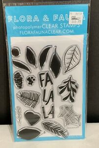 Flora & Fauna BRUSH POINSETTIA Christmas Pines Holiday Rubber Stamps
