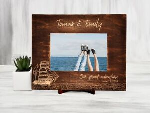 Wood Photo Frame Destination Wedding Gift Personalized Picture Frame Sailboat