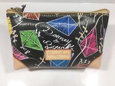 Dooney & Bourke Cosmetic Bag Pouch Clutch Zip Case Wallet Coated Cotton Vachetta