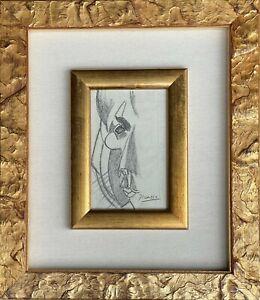 Original vintage art Pencil on paper! Pablo Picasso hand signed-double framed!