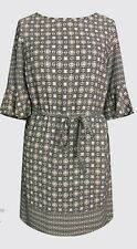 Womens Ladies Shift Dress Short sleeve Border Aztec print Grey sizes UK 10-EU 38