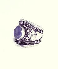 Tibetano Azul Pedrería Abalorios Anillo- Plata Envejecida Joyería Amuleto