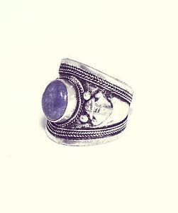 Tibetan Blue Jewel Trinket Ring- Antique Silver Jewellery- Amulet Boho Bohemian