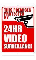 24 Hour Video Surveillance Sign  8 x 12 Aluminum Sign   Indoor/Outdoor Sign