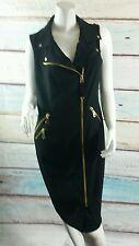 Calvin Klein Black Shirt Dress Exposed Gold  Zippers Size 10