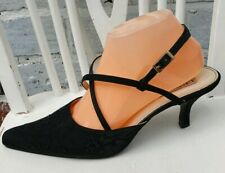 LEXUS Collection Ladies Black Satin Occasion Shoes Beads Embroidery Decor UK8 42