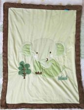 Tiddliwinks Green & Brown Plush w Elephant & Tree Baby Boy or Girl Blanket Euc