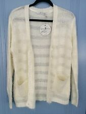 Quirky circus winter white fuzzy knit cardigan new warm size 8