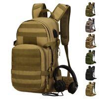 25L Tactical Pack Military Molle Backpack Student Bag USB port+Hydration Bladder