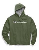 CHAMPION Men's Powerblend® Pullover Hoodie Olive Green Script Logo