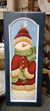 HAND PAINTED SNOWMAN WALL DECORATION/WOODEN! ONE OF A KIND