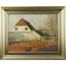Framed Original 60s Retro Oil on Canvas Winter Farmhouse Garden Painting Germany