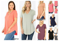 Womens Short Sleeve T-Shirt V-Neck Casual Basic Tunic Top Long Loose Blouse S-3X