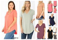 Womens Short Sleeve T-Shirt V-Neck Casual Basic Tunic Top Long Loose Blouse S-3X