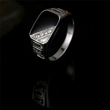 Triangle Enamel Crystal Men Ring Stainless Steel Rhinestone Ring Jewelry FT Gold 7