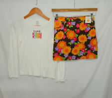 Gymboree Sunflower Smiles Size 12 Girls 2 Pc Outfit Set Top Skirt Floral Crayons
