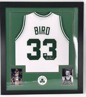 Larry Bird Autographed Framed Celtics Jersey Signed Beckett Basketball COA Rare