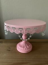 10 Inch Crystal-Draped Round Metal Cake Stand