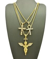 New Iced Out Cross , Ankh & Angel Pendant With Box Chain Set