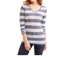 35326217 Faded Glory Womens Blue Sapphire Stripe Long Sleeve V-neck T-shirt Size L