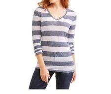 Faded Glory Womens Blue Sapphire Stripe Long Sleeve V-Neck T-Shirt Size L (12/14
