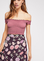 NEW Free People Intimately Smocked Crop Top in Rose Size XS/S & M/L $54.11