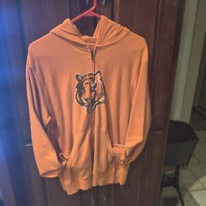 Reebok Sz M Orange Cincinnati Bengals Full Zip Hoodie.
