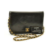 CHANEL Chain Shoulder Bag Black Patent Leather CC Auth sa2370