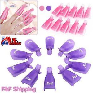 10pcs Plastic Nail Art Soak Off Cap Clip UV Gel Polish Remover Wrap Tool Kit NEW