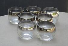 7 Roly Poly Dorothy Thorpe Silver Rim Glasses 4 Oz. Mad Men Mid Century Modern