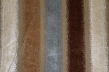 "56"" Chocolate & Aqua Stripe Burst Chenille Upholstery Fabric - By the Yard"