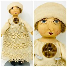 """10"""" HANDMADE CLOTH RAG DOLL W/PAINTED FACE, MUSLIN CLOTHES, UNSIGNED"""