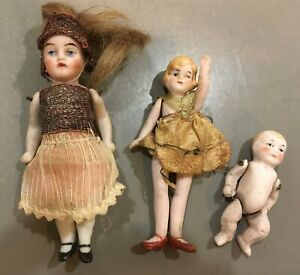 """Antique lot 3 all bisque jointed dolls Germany 3"""" girls and 2"""" baby  dollhouse"""