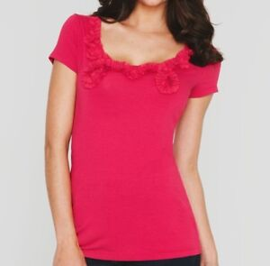 LADIES RED SUMMER BERRY T SHIRT Short Sleeve Scoop Neck Top Womens NEW
