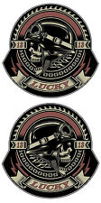 LUCKY 13 STICKER BIKER ROCKABILLY SKULL STICKER PAIR LEFT AND RIGHT FACING