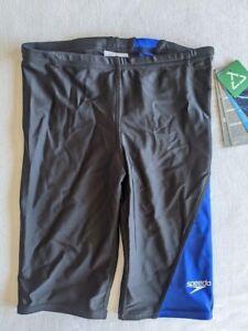 Speedo Boys Power Flex Eco Jammer Size 26 Swim Wear Shorts Black Blue Trunks NWT