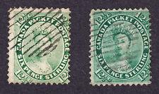 CANADA 1859 SCOTT 18 & 18a - YOUNG QUEEN VICTORIA 12½¢ YELLOW & BLUE GREEN