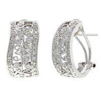 18k White Gold 1ctw Diamond Pave Trellis Design Half Hoop Curve Earrings