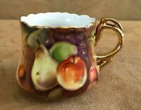 Lefton Heritage Gold Fruit Mug Grapes Pears Apples hand painted vintage china